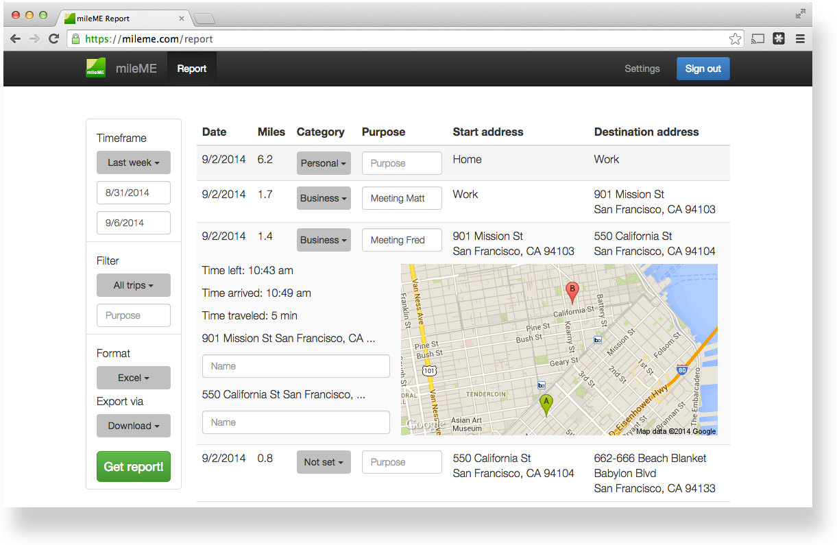 Generate a business mileage report for your taxes or expense reimbursement on mileME.com